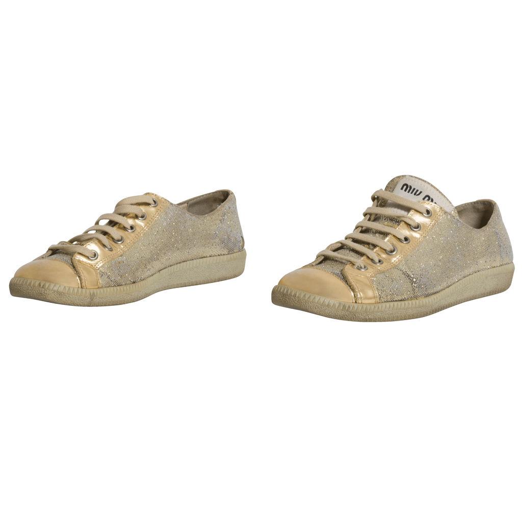 Miu Miu Gold Glitter Sneakers