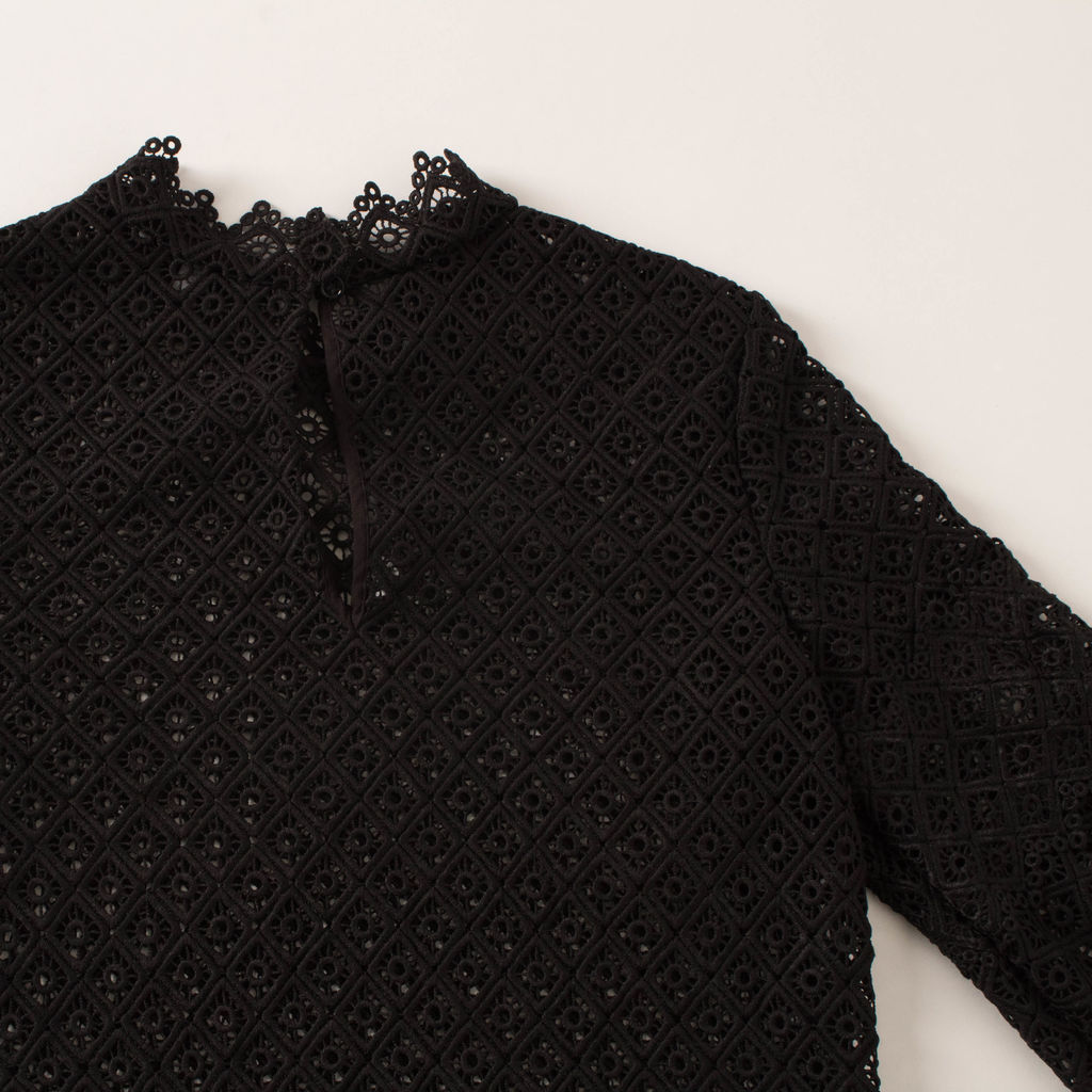 IRO Amia Black Crochet Lace Top