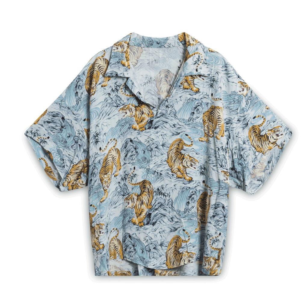 Vintage Tiger Collared Shirt - Blue