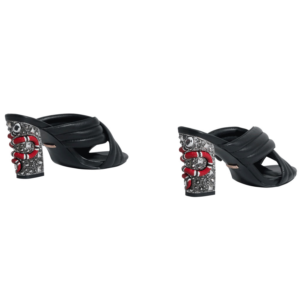 Gucci Webby Quilted Leather Snake-Heel Mule Sandals in Nero