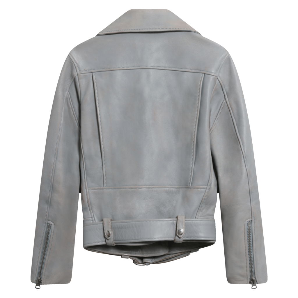 Acne Studios Mock Smooth-Leather Jacket in Grey