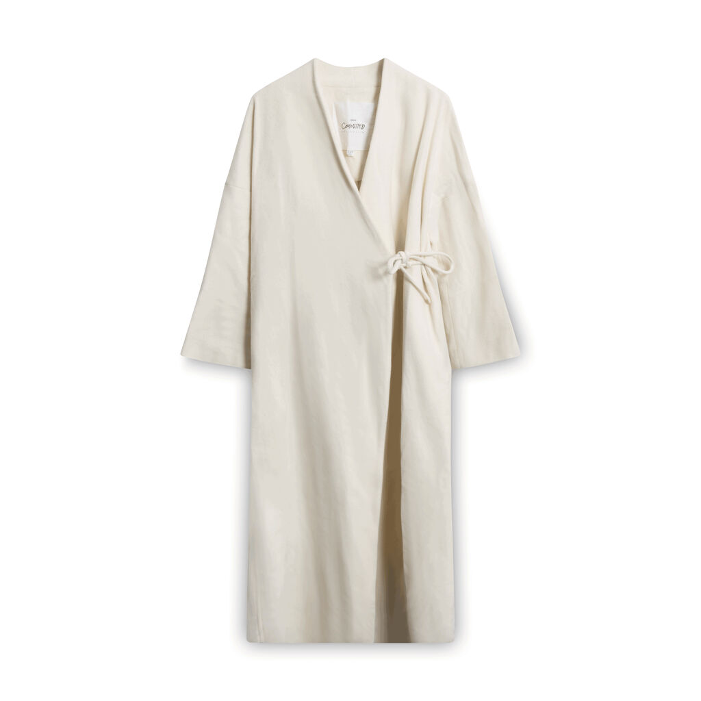 MNG by Mango Committed Collection Wrap Coat - Off-White