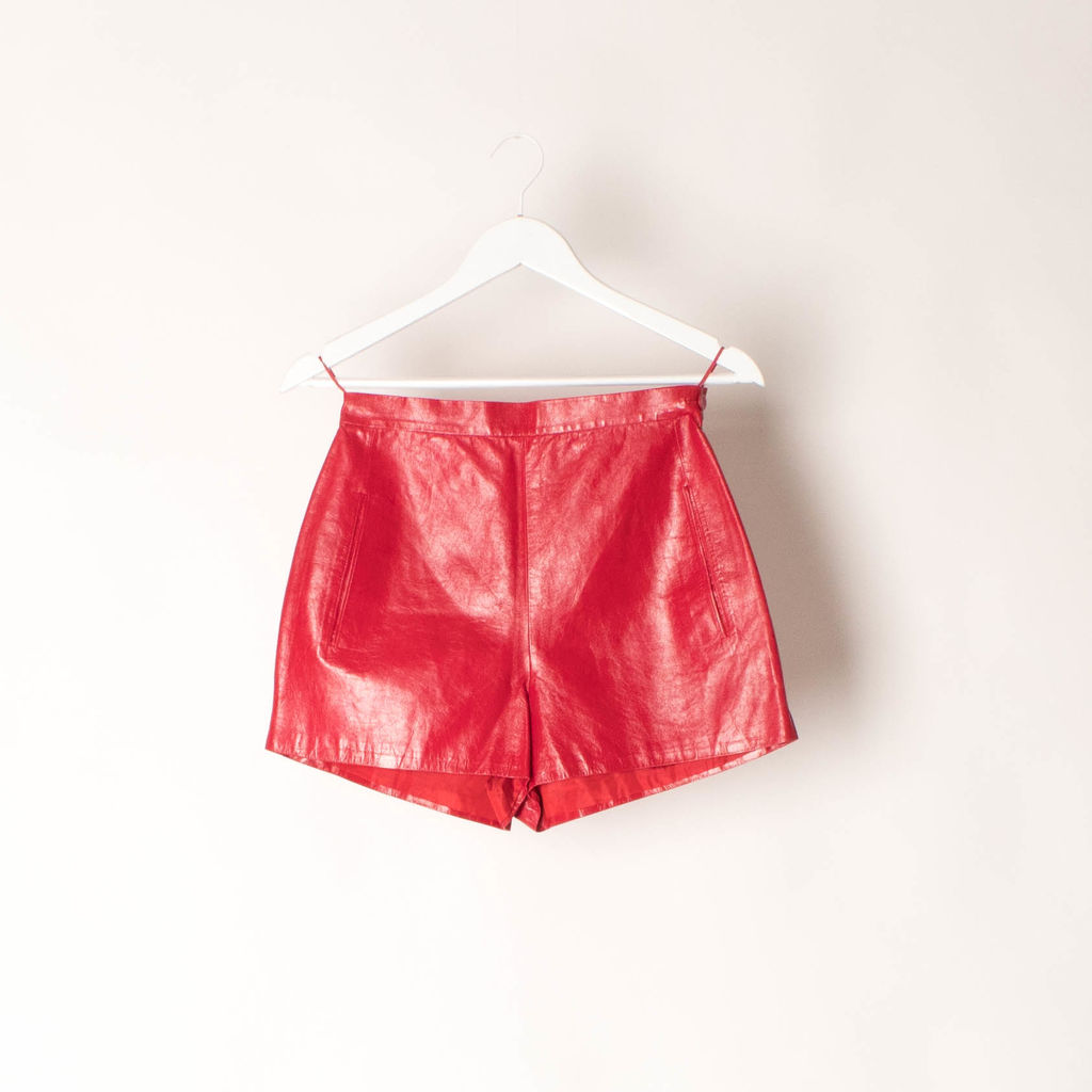Vintage Prada Milano Faux Red Leather Hot Shorts