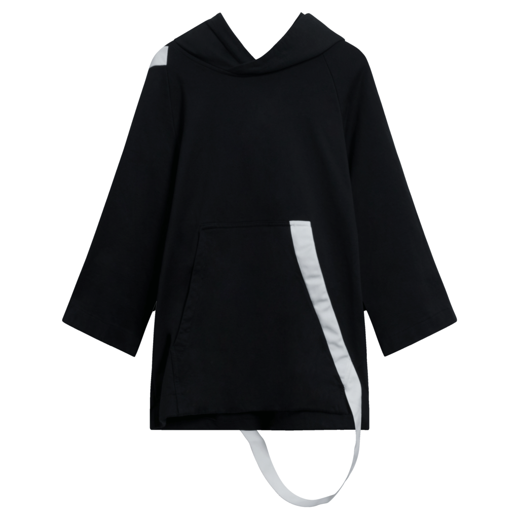 Y-3 adidas x Yohji Yamamoto Black Hoodie with Wrap Around Strap