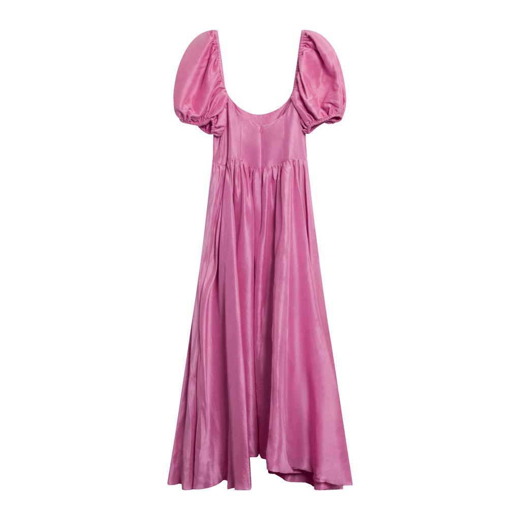 Rory Raw Silk Dress - Peony