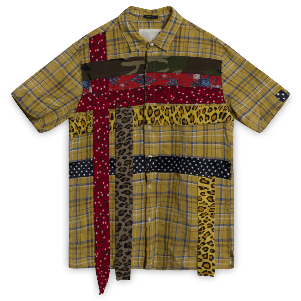 R13 Plaid Button Up with Trim in Mustard