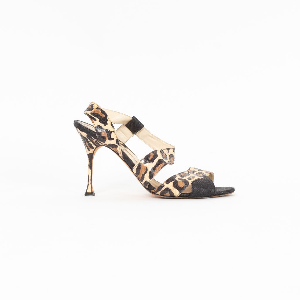 Brian Atwood Leopard Print & Snakeskin Heels | Curated by