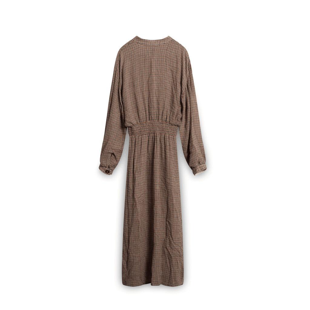 Nanushka Plaid Button-Down Dress with High-Rise Collar - Brown