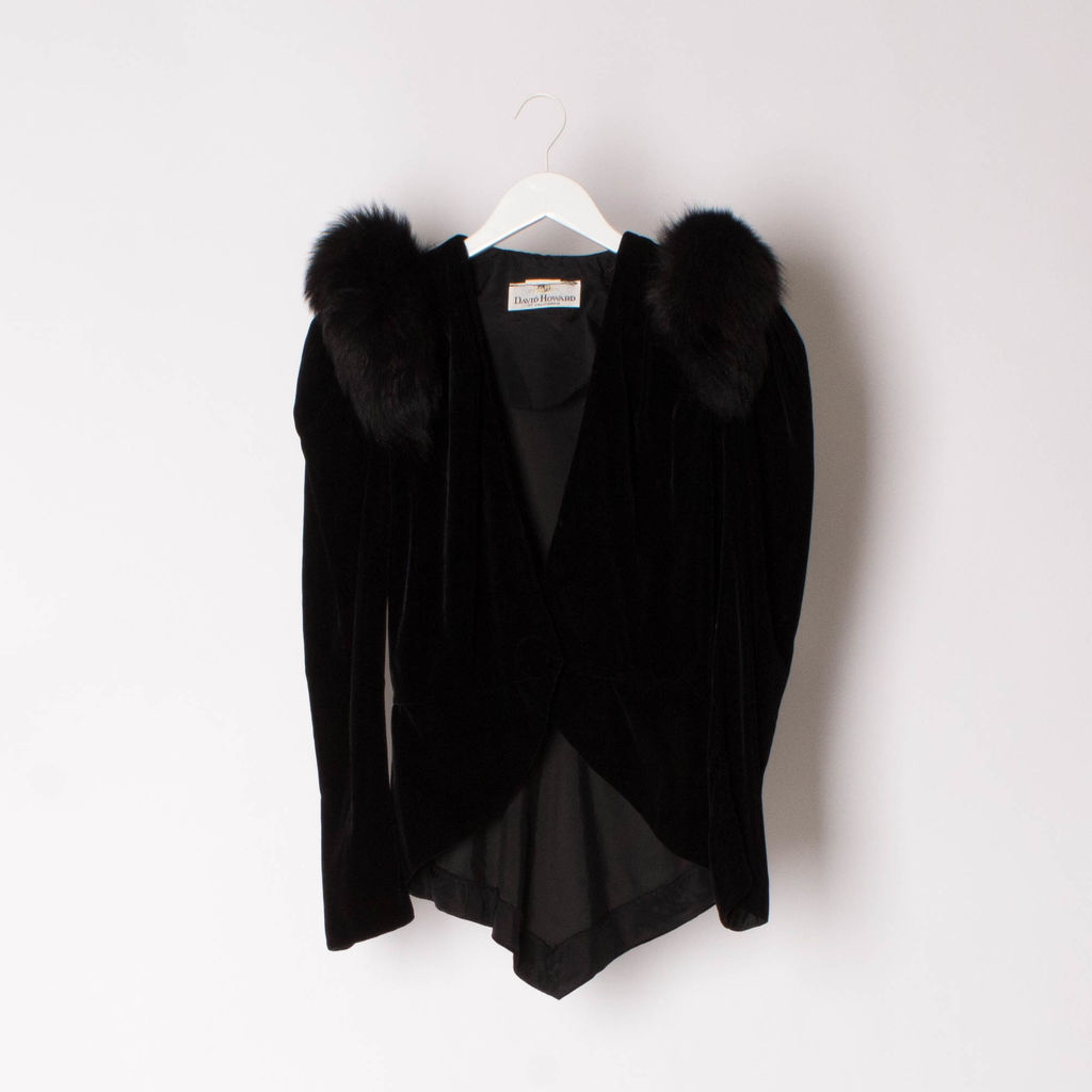 Vintage 80s David Howard Velvet And Fox Tuxedo Jacket