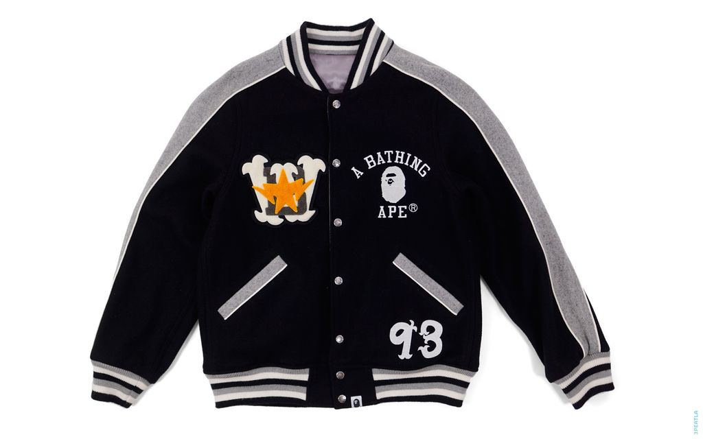 Bapexclusive Milo Warriors Reversible Varsity Jacket black