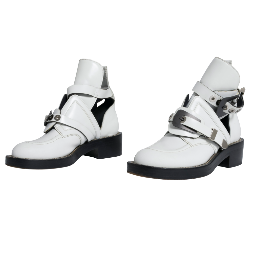 Balenciaga Ceinture Leather Ankle Combat Boots in White