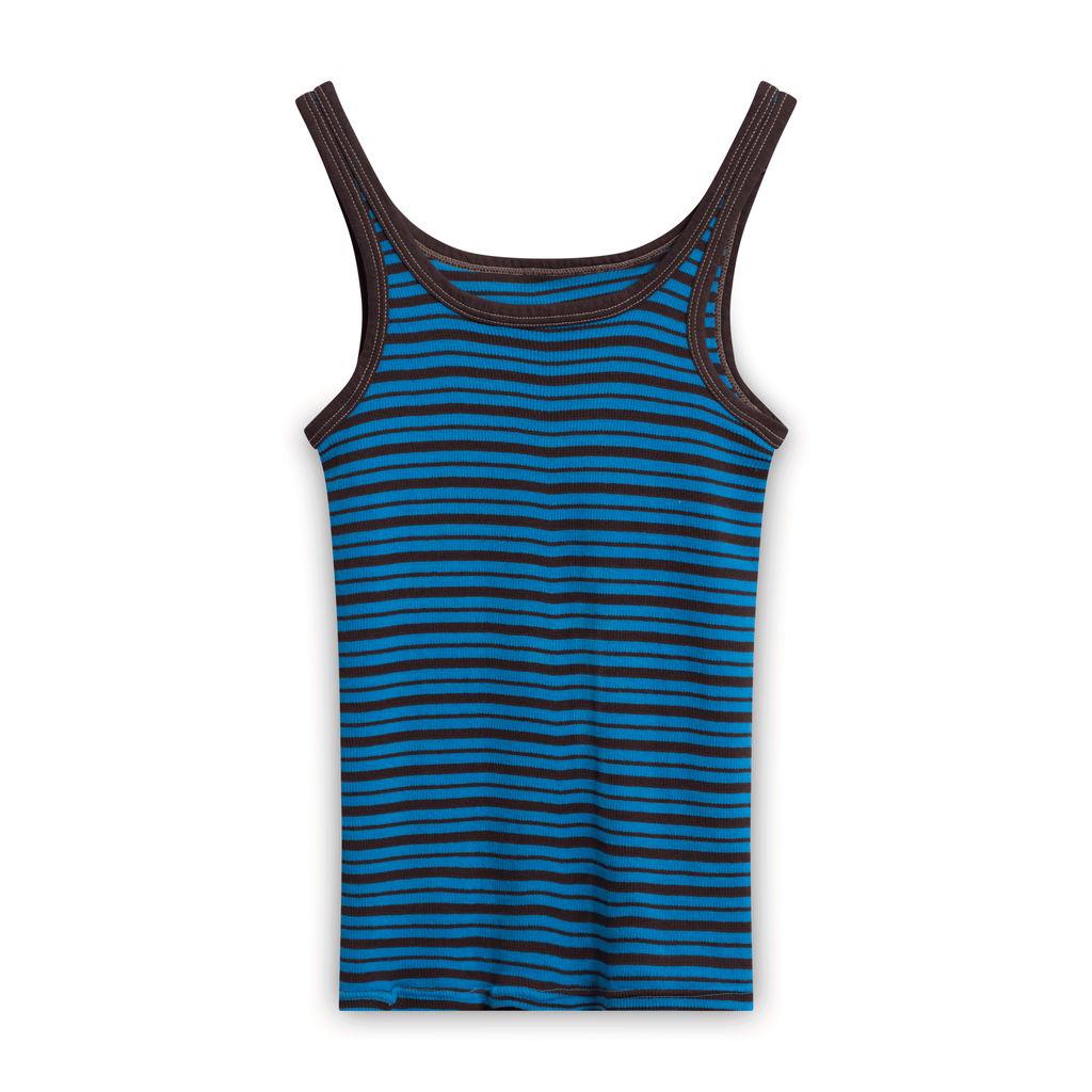 Vintage Striped Tank Top - Blue/Brown