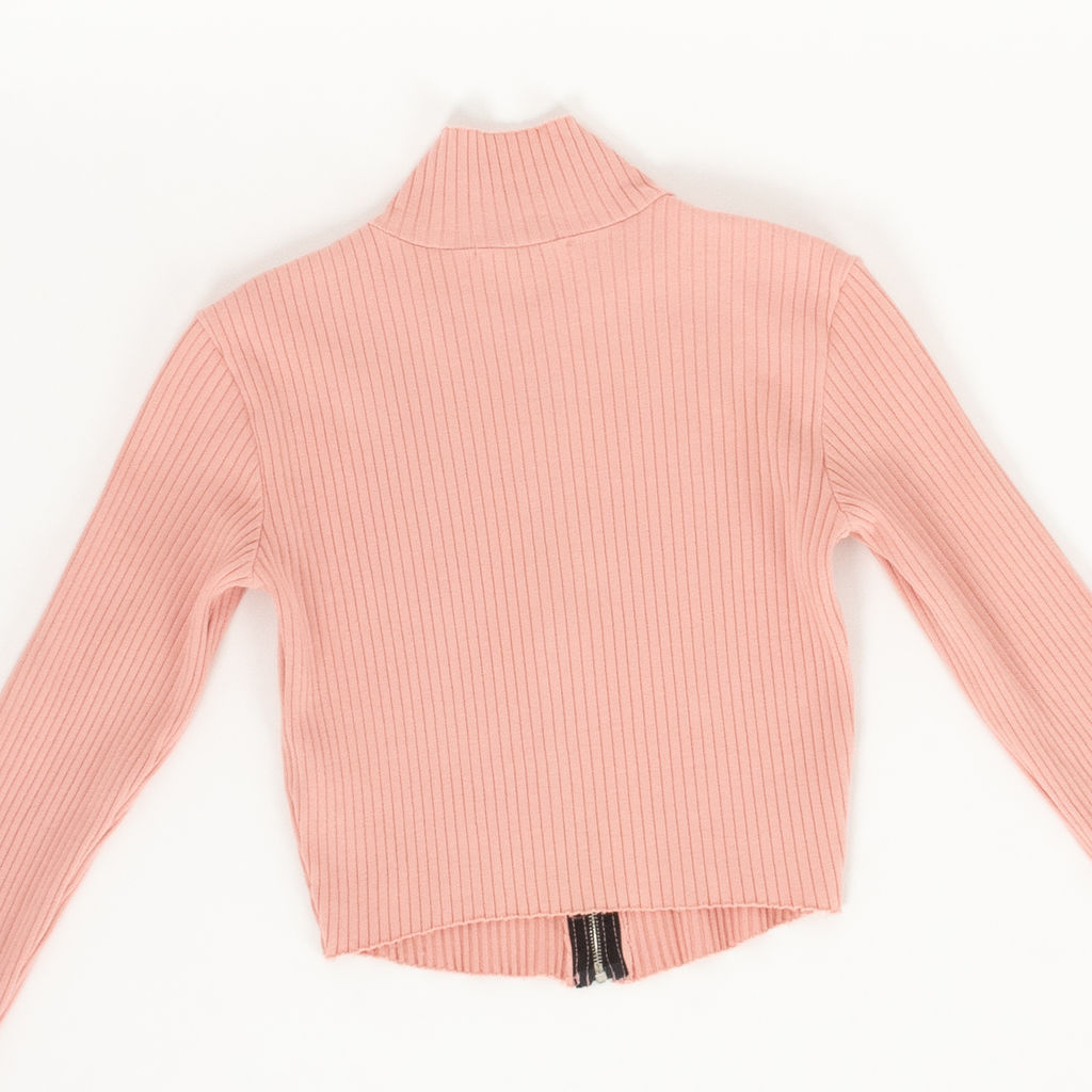 Cotton Citizen Pink Ribbed Zip Up Sweater