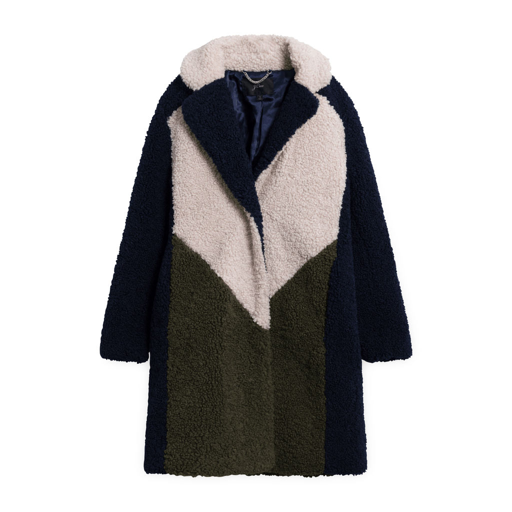 J Crew Colorblock Sherpa Topcoat - Navy/Ivory/Olive