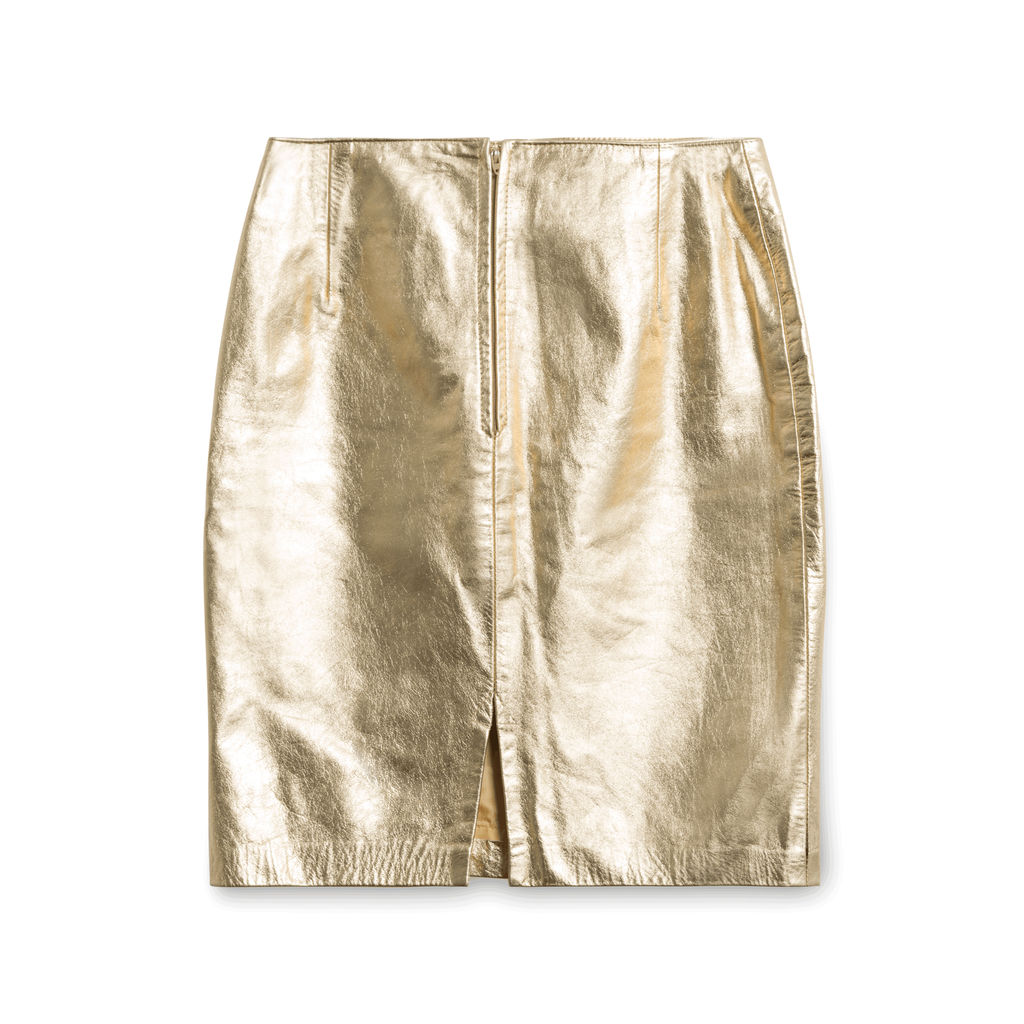 Kenar Leather Gold Skirt
