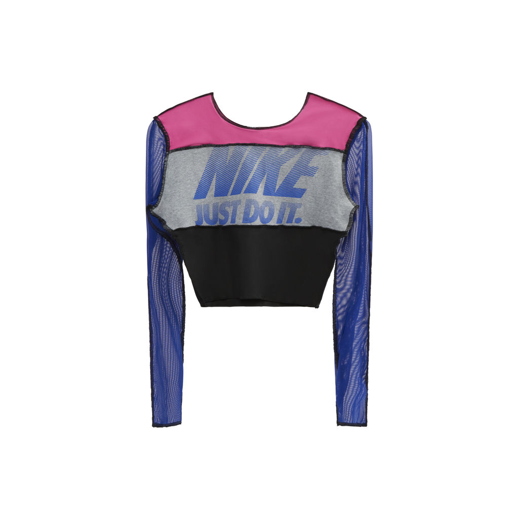 JJVintage Reworked Nike Long Sleeve Top in Blue/Pink/Black
