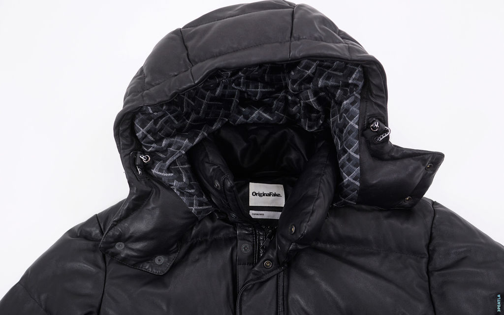 OriginalFake Chomper Accent Convertible Pebble Leather Down Jacket